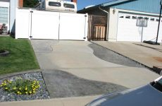 Custom Gray Colored Stamped Concrete Driveway