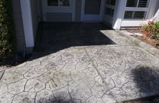 Custom Gray Stamped Concrete Entryway